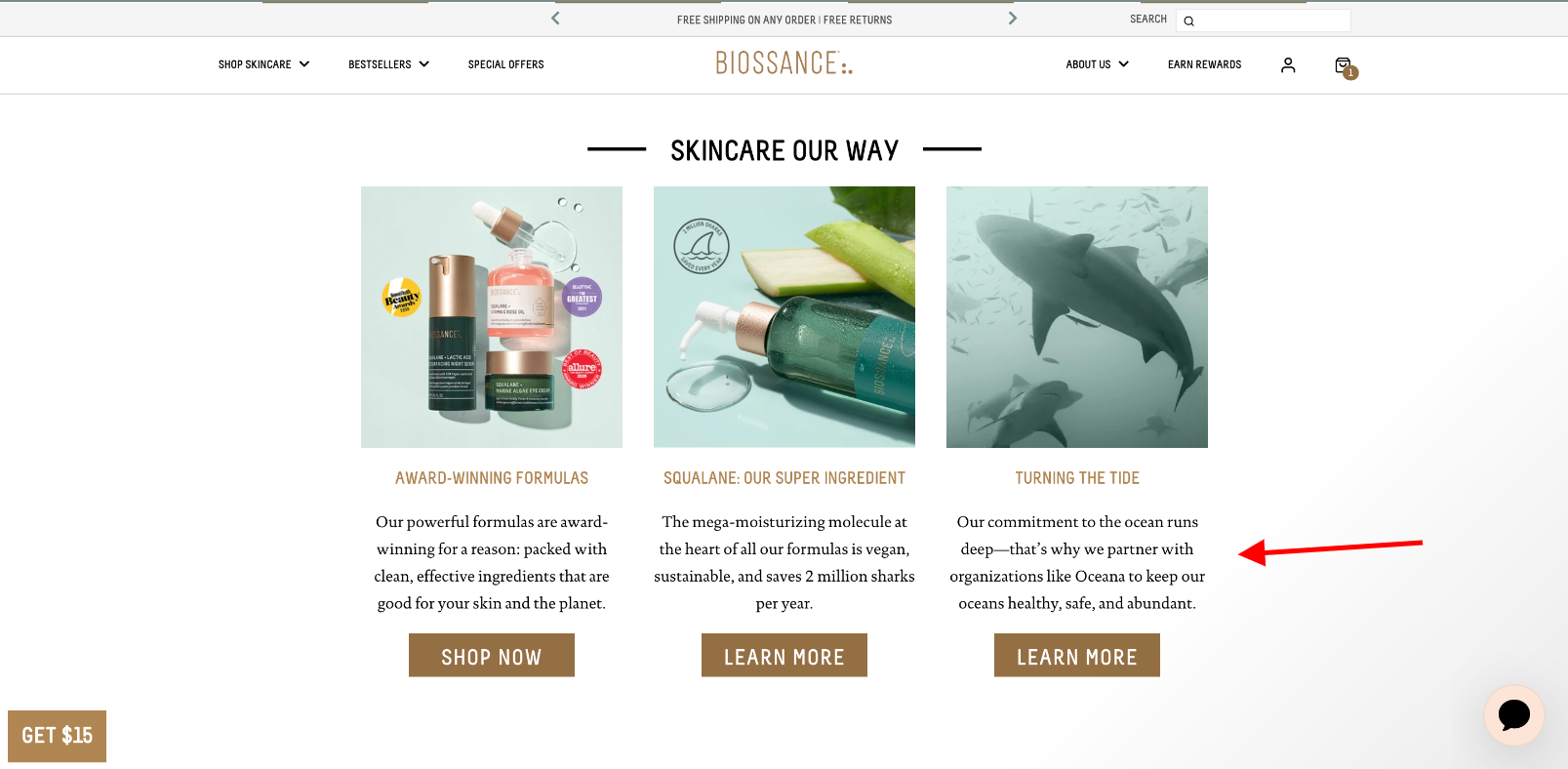 Biossance homepage promotion